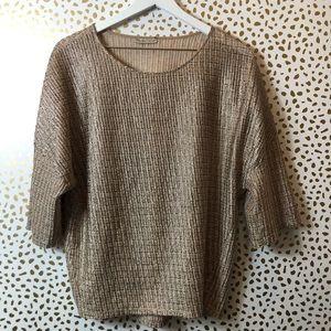 ZARA small tan short sleeve blouse